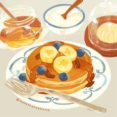 Cute Food Art, Cute Art, Anime Kawaii, Kawaii Art, Anime Gifs, Anime Art, Aesthetic Food, Aesthetic Anime, Pancake Drawing