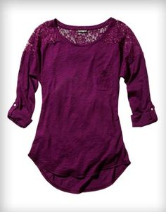 Rolled Sleeve Lace Inset Tee