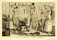 """'Bath stays or the lady's steel shapes', 1777, published by Matthew Darly. Walpole writes, 28 Mar. 1777, """"There has been a young gentlewoman overturned and terribly bruised by her vulcanian stays. They now wear a steel busk down their middle and a rail of the same metal across their breasts."""" 'Letters', x. 31."""