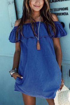 Blue Sexy Off Shoulder Flouncy Dress