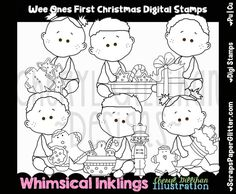Wee Ones First Christmas Digital Stamps, Black and White Image, Graphic, Commercial Use, Instant Download, Line Art, Toddler, Baby, Tot by ResellerClipArt on Etsy Image Graphic, White Image, Digital Stamps, First Christmas, Line Art, Commercial, Snoopy, Black And White, Comics