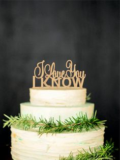 I Love you I Know Wedding Cake Topper Star Wars Inspired Wood Cake Topper