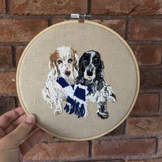 Personalised pet portrait embroidery framed commission of spaniels Wooden Embroidery Hoops, Hand Embroidery Designs, Hessian Fabric, Portrait Embroidery, Embroidered Gifts, Spaniels, Pet Portraits, Cross Stitch Embroidery, Pets