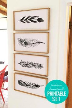 Hand-Drawn Feather Art Print Set in Three Colors Feather Art, Feather Design, Feather Drawing, Print Place, Animal Decor, Animal Nursery, Printable Wall Art, How To Draw Hands, Gallery Wall