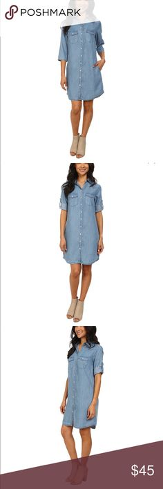 Kut from the Kloth denim shirt dress Great condition size S has snap buttons very light denim fabric Kut from the Kloth Dresses Mini