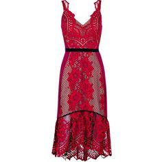 Three Floor Showcase Lace Doycon Peplum Hem Dress ($400) ❤ liked on Polyvore featuring dresses, red lace dress, slimming dresses, three floor dress, body con dresses and lace cocktail dress