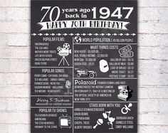 70th Birthday Chalkboard Poster Sign, 70 Years Ago Back in 1947 USA Events, Black & White, Instant Download Digital Printable File - 376