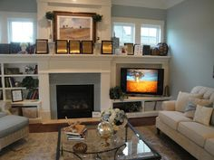 Small living room furniture placement with tv built ins Ideas Fireplace Built Ins, Fireplace Shelves, Fireplace Design, Craftsman Fireplace, Fireplace Windows, Fireplace Cover, Victorian Fireplace, Small Fireplace, Tv Stand Next To Fireplace