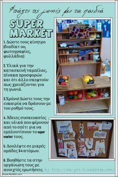 Ανανέωση- αλλαγή γωνιάς. Φτιάξτε τις γωνιές με τα παιδιά.  Γωνιά Super Market. Δημιουργικό σχέδιο εργασίας. by http://we-got-it.webnode.com/