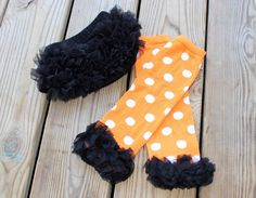 A personal favorite from my Etsy shop https://www.etsy.com/listing/246677356/white-and-orange-polka-dot-leg-warmers