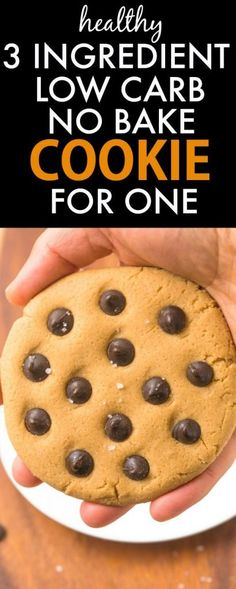Healthy 3 Ingredient No Bake LOW CARB Cookie for ONE- Ready in less than 5 minutes, it's packed with protein and barely any carbs and tastes great! Low Carb Desserts, Gluten Free Desserts, Healthy Desserts, Low Carb Recipes, Healthy Recipes, Healthy Foods, Healthy Eating, Protein Recipes, Protein Snacks
