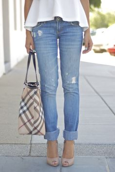 Stilettos and jeans, one of my classic favorite looks.~ Love the striped hem
