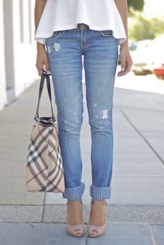 Casual jeans, flouncy shirt, & Burberry