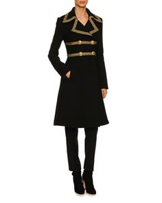 Metallic-Trim+Wool-Crepe+Coat,+Black+and+Matching+Items+by+Dolce+&+Gabbana+at+Neiman+Marcus.