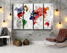yd Blue Wall Decor, Modern Wall Decor, Wall Art Decor, Tree Wall Art, Canvas Wall Art, Highland Cow Print, World Map Canvas, Large Canvas Prints, Marble Art