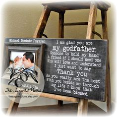 Godfather Gift, Godfather Frame, Baptism Gift for Godparents, Will You Be My Godfather, Christening Gift, 8x20 The Sugared Plums