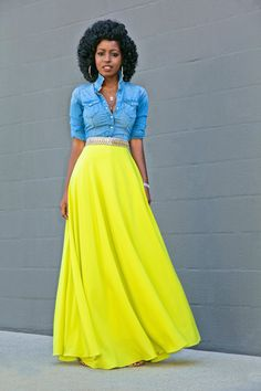 Fitted Denim Shirt + Neon Maxi Skirt