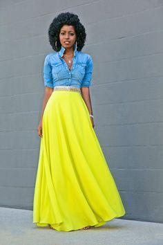 Fitted Denim Shirt + Neon Maxi Skirt