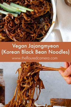 Korean Black Bean Noodles, Korean Noodles, Easy Korean Recipes, Asian Recipes, Eggplant With Garlic Sauce, Dried Black Beans, Fried Vegetables, Vegan Dishes, Vegetable Dishes