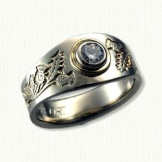 14kt White Gold Celtic Custom Wide Mary with Thistles & Single Claddagh set with a .42ct round diamond