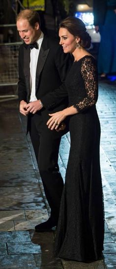 The Duke and Duchess of Cambridge arriving at Royal Albert Hall 13 Nov 2014.  The Duchess is elegant in a Diane Von Furstenberg black lace evening gown.  Absolutely gorgeous.
