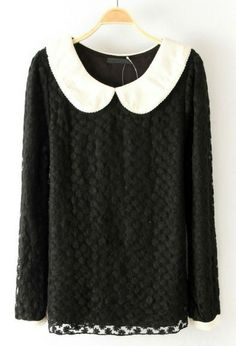 Black Contrast Collar Embroidery Lace Blouse US$30.00