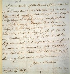 Jane Austen's hand-written will...wow ❤