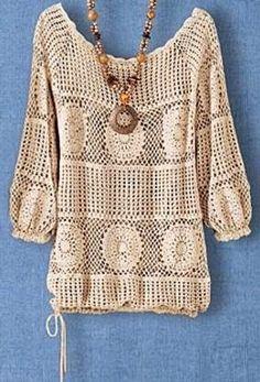 Crochet tesoro: tunica a maniche lunghe