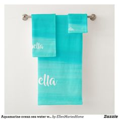 Aquamarine ocean sea water with name bath towel set
