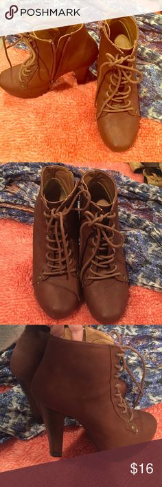 Jeffrey Campbell Style Heels 5 inch Jeffrey Campbell Style Heels. Brown Faux Leather with lace up detail Shoes Heeled Boots