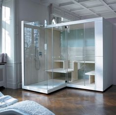 Sauna by Duravit . Like the shower next door to the sauna. Steam Room Shower, Sauna Steam Room, Sauna Room, Duravit, Design Sauna, Modern Saunas, Sauna Wellness, Sauna Shower, Italia Design