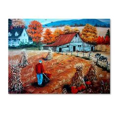 "Trademark Art 'Down On The Farm' Print on Wrapped Canvas Size: 35"" H x 47"" W"