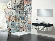 Banksy tile to put behind stove as part of backsplash? 'Banksy' Highly Polished Tile 44x44cm - Tons of Tiles - Metro Tiles, Tile Adhesive, Tile Grout,
