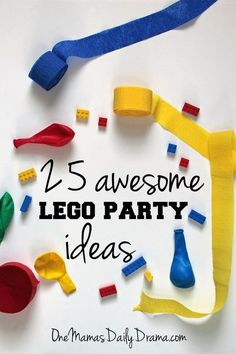 25 awesome LEGO party ideas from One Mama's Daily Drama // Plan the best kids birthday party ever with printables, games, food, favors and more. Legos Party Ideas, Lego Party Decorations, Lego Party Games, Lego Themed Party, Ideas Party, Lego Party Favors, Lego Parties, Party Activities, Lego Batman Party