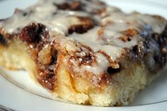 Cinnamon Roll Cake  to die for.   Halving the recipe and baking in a 9x9 pan worked out fine.