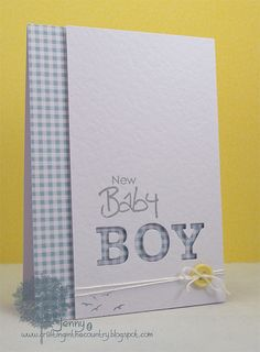 Crafting in the Country: Baby Gingham Love the use of the die cut letters. Also, see one in pink. Baby Scrapbook, Scrapbook Cards, New Baby Cards, Baby Christening, Baby Shower Cards, Greeting Cards Handmade, Baby Boy Cards Handmade, Card Tags, Paper Cards