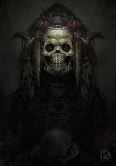 aztec theme demon speedpaint, Kostya P!ngWIN Chernianu on ArtStation at https://www.artstation.com/artwork/QElQE