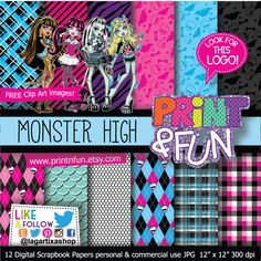 Monster High Digital Paper Patterns - Digital Papers and more!