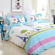 Amazon.com: FADFAY Home Textile Girls Paris Eiffel Tower Bedding Sets Twin Full Queen: Home & Kitchen