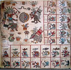 Page 9 Codex Borbonicus. Ventas of Ozomatli trecena. Patecatl, god of healing and fertility. The sun disk/night disk is representative of dawn, and the eagle and jaguar figures are members of the elite Jaguar and Eagle warrior societies as can be observed from the battle flags that they wear tied to their bodies. Also a composite glyph of a pot with a loincloth and a monkeys head wearing a shell earring. A two-headed snake. -Taylor Bolinger