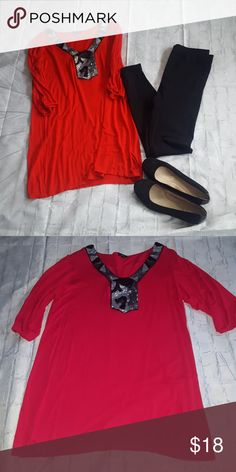 2/$25  EUC red tunic EUC red tunic with black and silver sequined neckline and elbow length sleeves. Shorts and bracelets are posted separately in other listings. k & c Tops Tunics