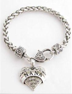 Nana, Grandma, Grandmother, Silver Lobster Claw Bracelet Heart Jewelry