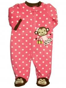 Baby Girl Monkey Fleece Blanket Sleeper Footie - Little Me - ltm3005 in Brown/Hot Pink Pink/White