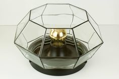 Set of Four Large Geometric Black and Clear Glass Flush Mount Lights by Limburg For Sale at 1stdibs