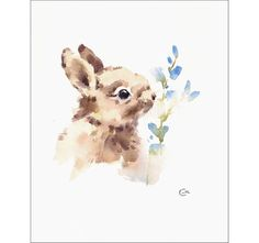 Bunny  Original Watercolor Painting 8 1/2 x 10 1/2 inches