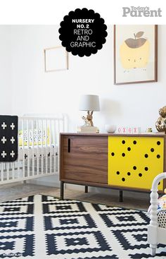 This bright, gender-neutral nursery style mixes bold graphic patterns with retro touches.