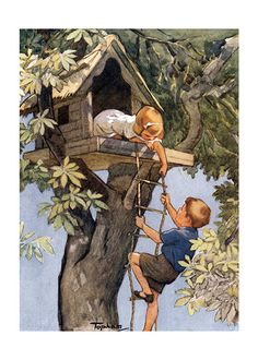 Vintage Illustrations Welcome to My Treehouse! (Children's Playtime Children Art Prints) - The glory days of summer are over and a fort for your clubhouse in the park is no longer an option. Vintage Children's Books, Vintage Art, Vintage Pictures, Vintage Images, Children's Book Illustration, Illustrators, Art For Kids, Art Prints, Drawings