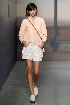 The Best Looks From New York Fashion Week: Spring 2015 - Coach; sporty, baseball jacket in stiffer proportions and pale, feminine color