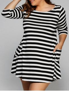 GET $50 NOW | Join RoseGal: Get YOUR $50 NOW!http://m.rosegal.com/plus-size-dresses/3-4-sleeve-striped-mini-t-shirt-750884.html?seid=8236597rg750884