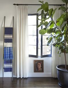 Ladders are a great way to display textiles